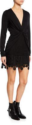 Self-Portrait V-Neck Long-Sleeve Twist-Front Mini Dress