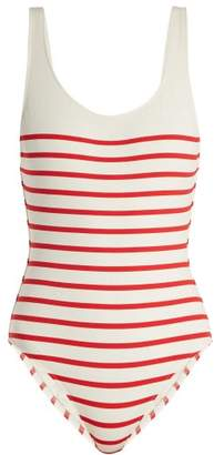 Solid & Striped The Anne Marie Scoop Back Swimsuit - Womens - Red Stripe