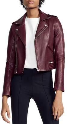 Maje Basilta Cropped Moto Jacket in Burgundy
