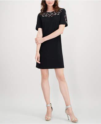 Calvin Klein Floral-Embroidered Dress