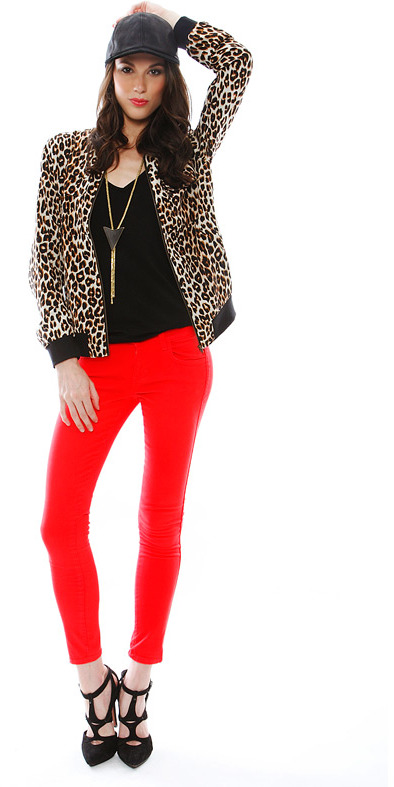 Equipment Leopard Abbot Bomber Jacket with Contrast in Natural