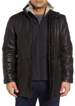 Andrew Marc Middlebury Leather Car Coat with Genuine Rabbit Fur Trim