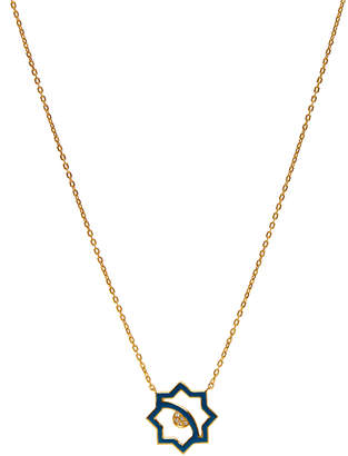 LeiVanKash Donya 22K Yellow Gold-Plated White Sapphire and Blue Enamel Necklace