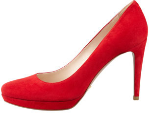 Prada Suede Almond-Toe Pump, Red