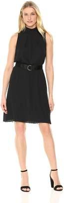Ellen Tracy Women's Sleeveless High Neck Trapeze Dress