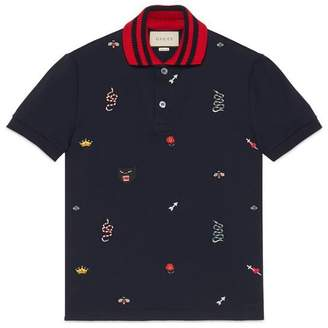 Gucci Cotton polo with embroideries