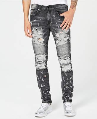 Heritage America Men's Slim-Straight Fit Stretch Destroyed Moto Jeans