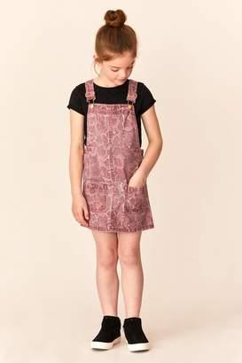Next Girls Berry Snake Print Denim Pinafore (3mths-16yrs) - Pink