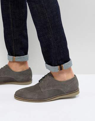 Frank Wright Lace Up Shoes In Gray Suede