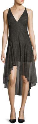 Halston Sleeveless V-Neck Metallic Lace Cocktail Dress
