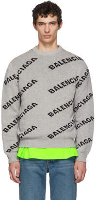 Balenciaga Grey and Black All Over Logo Crewneck Sweater