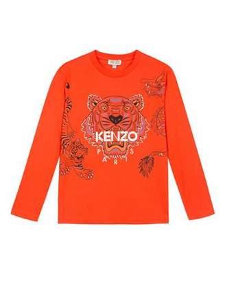 Kenzo Long-Sleeve Tiger & Dragon Print Tee, Size 8-12