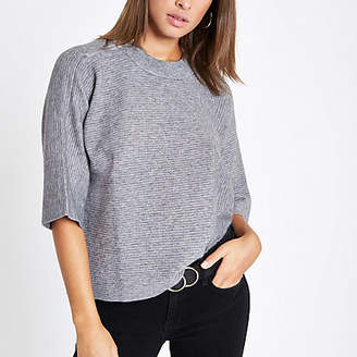 River Island Womens Grey flare sleeve T-shirt
