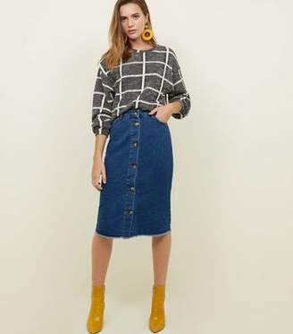 New Look Blue Button Through Fray Hem Denim Midi Skirt