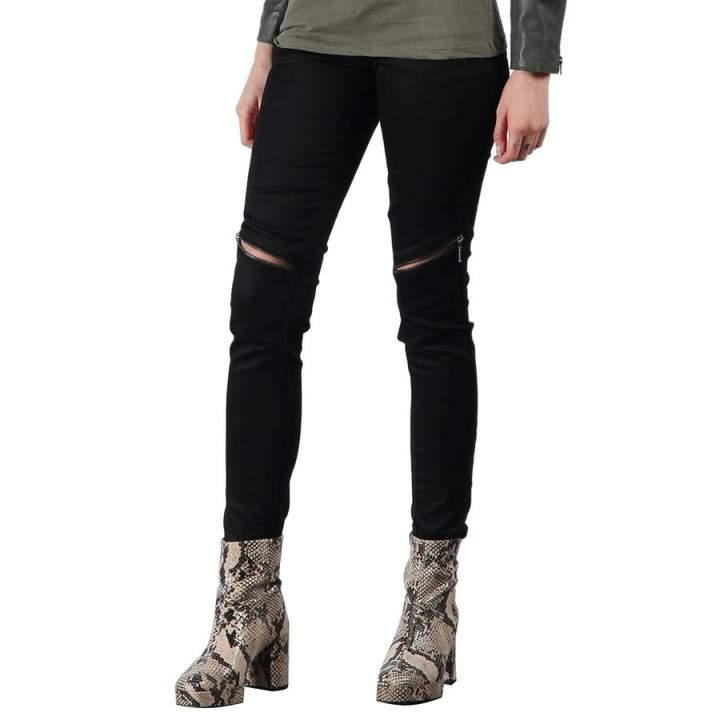 Black Horizontal Zip Skinny Jeans