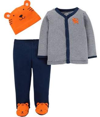 Carter's Child of Mine by Newborn Baby Boy Cap, Cardigan and Foot Pant Set-3 Pieces