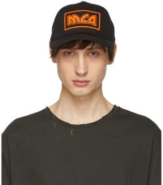 McQ Black and Orange Embroidered Metal Logo Cap