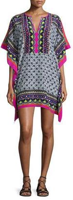 Trina Turk Butterfly-Sleeve Abstract-Print Silk Caftan Dress $208 thestylecure.com