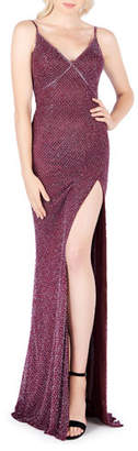 Mac Duggal Shaded Ice Beaded V-Neck Sleeveless Gown with Thigh-Slit