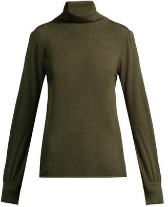Goat Garbo Roll Neck Sweater - Womens - Dark Green