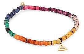 Sydney Evan Women's Small Diamond & Rainbow Heishi Beaded Bracelet