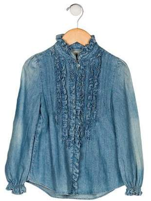 Ralph Lauren Girls' Ruffle Chambray Top