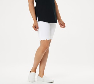 Isaac Mizrahi Live! Regular 24/7 Stretch Scallop Hem Bermuda Shorts