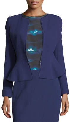 Armani Collezioni Crepe Zip-Front Peplum Jacket