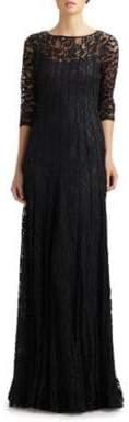 Teri Jon by Rickie Freeman Lace Pintuck Gown