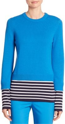Michael Kors Collection Striped Cashmere & Cotton Pullover