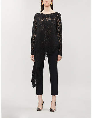 Oscar de la Renta Asymmetric stretch-lace top