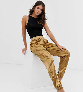 Missguided Tall satin cuffed trousers in olive