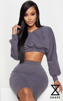 PrettyLittleThing Shape Charcoal Cropped Sweat V Neck Top