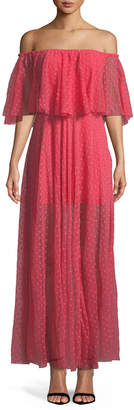 LIKELY Blaine Off-The-Shoulder Mesh Maxi Dress
