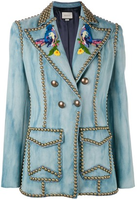 Gucci Embroidered studded denim blazer