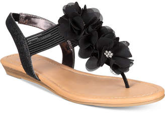 Material Girl Sari Floral Embellished Flat Sandals, Created for Macy's Women's Shoes