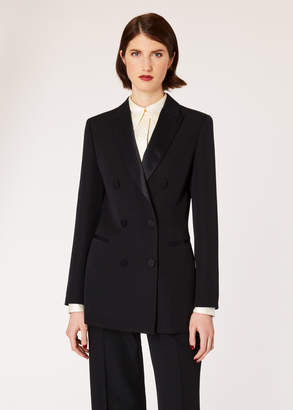 Paul Smith Women's Black Double-Breasted Tuxedo Blazer With Satin Details