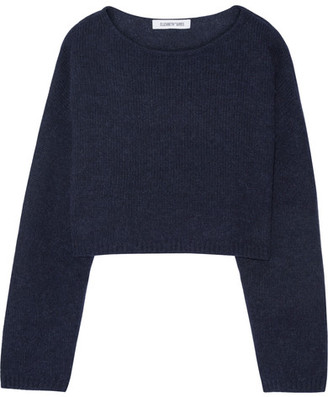 Elizabeth and James - Vann Cropped Knitted Sweater - Navy $275 thestylecure.com