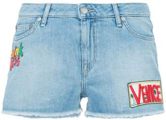Mira Mikati patch-work denim shorts