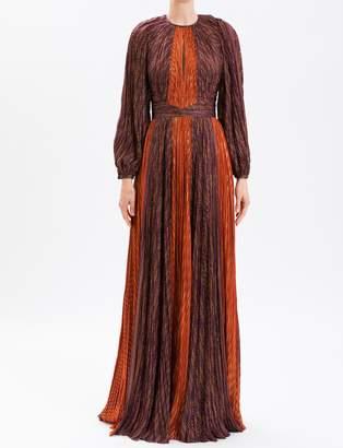 J. Mendel Burgundy & Orange Rust Contrast Stripe Pleated Gown
