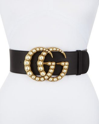 Gucci Wide Leather Belt w/ Pearlescent Beads, Black/Cream $1,100 thestylecure.com