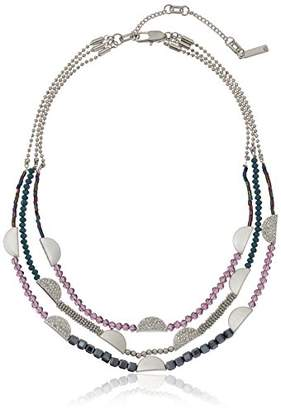 Kenneth Cole New York Stone Central Pave Mixed Faceted Bead Multi Row Necklace