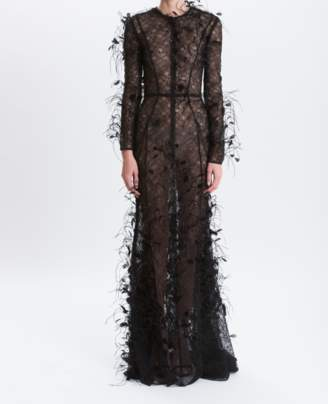 J. Mendel Noir Eyelash Lace Embroidered Ostrich Feather Gown