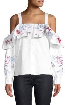 Parker Upton Cold-Shoulder Embroidered Top
