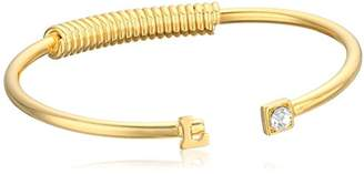 N. 1928 Jewelry 14K Gold-Dipped Initial L and Crystal Accent C-Cuff Bracelet