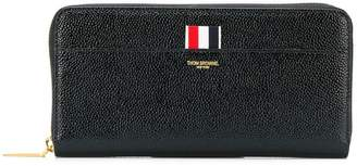 Thom Browne Long Zip Around Purse In Pebble Lucido Leather