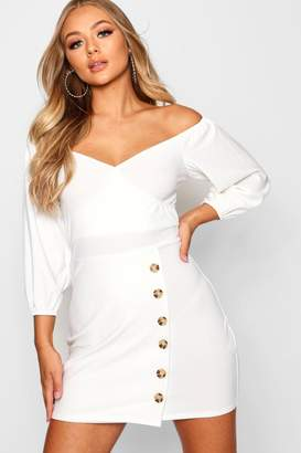 boohoo Off Shoulder Button Down Wrap Mini Dress