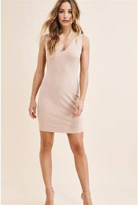 Dynamite Zip Back Bodycon Dress - FINAL SALE Rugby Tan