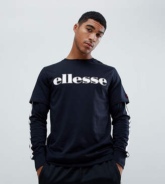 Ellesse Layered Long Sleeve T-Shirt With Side Stripe In Black