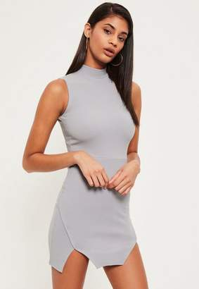 Missguided Gray High Neck Double Wrap Bodycon Dress